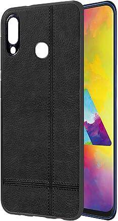 Casotec Premium Leather Finish Soft TPU Case Cover for Samsung Galaxy M20 - Black