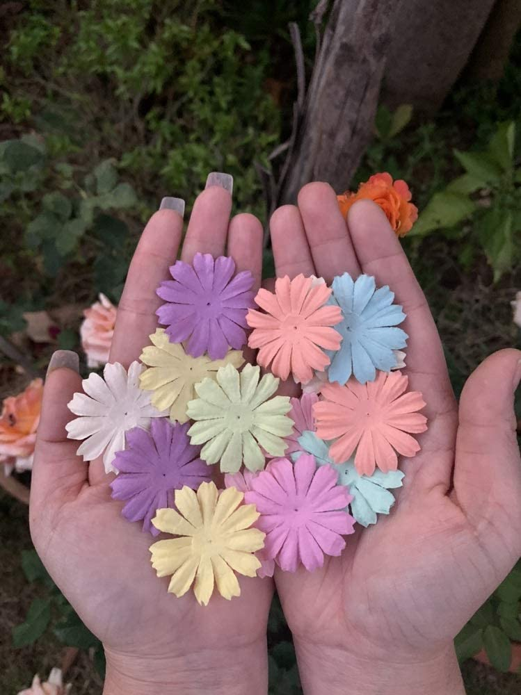 100 pcs Mixed Sweet Colors Patch Flowers 39x39mm Mulberry Paper