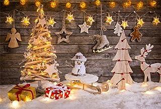 YongFoto 2,2x1,5m Fondos de Navidad Fotografia Decoración de Navidad en el Fondo de Madera Fondos para Fotos Estudio Fotográfico Accesorios