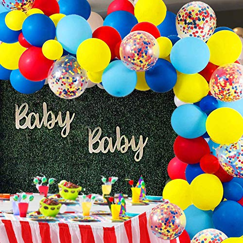 Carnival Circus Balloon Arch and Garland Kit - 105 Pack Red Blue Yellow Round Latex Balloons and Rainbow Multicolor Pre-Filled Confetti Balloon for Carnival Wedding Birthday Anniversary Decorations