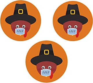 Mini Thanksgiving Turkey Magnet for Car, Fridge, 2020 Holiday Magnetic Decal Turkey Pilgrim, Pack of 3, 3/4 Inch