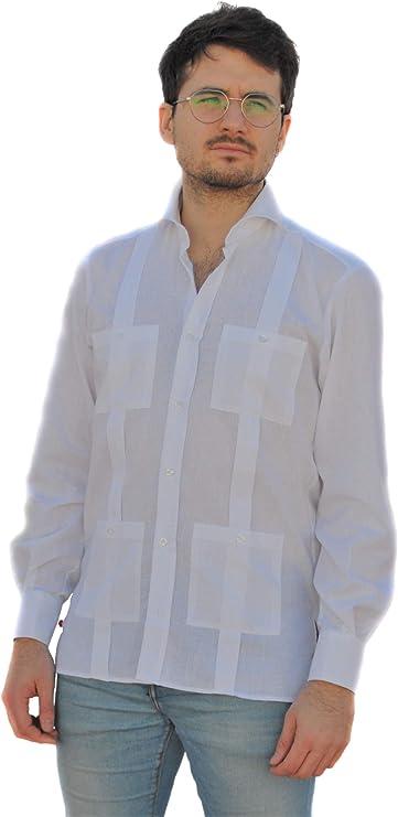 Camisa Guayabera Caballero Blanca (M): Amazon.es: Ropa