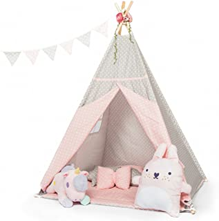 little dove Kids Teepee Tent Set with Mat - 4 Wooden Poles Indian Playhouse for Children Durable Cotton Canvas Fabric (Pink Point)