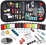 Kit de costura para viajeros, niños, adultos, principiantes, hogar de emergencia, suministros de costura de bricolaje con 90 piezas, accesorios de costura, hilo de aguja