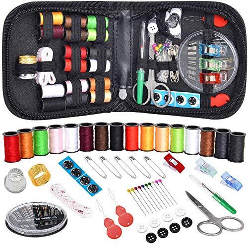 CIVONIA Kit de costura para viajeros, niños, adultos, principiantes, emergencias, hogar, accesorios de costura, con 90 piezas de accesorios de costura, hilo y aguja