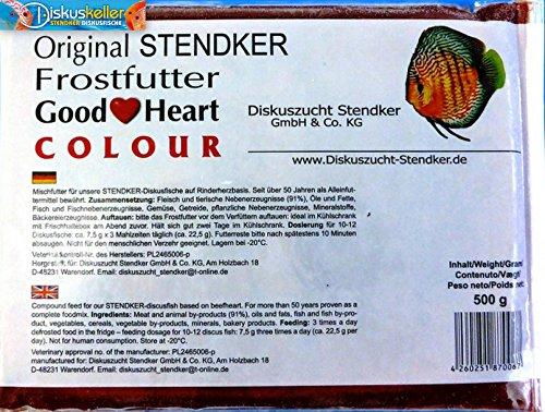 Stendker Frostfutter Sparpaket NEU!! 10 x GoodHeart Colour Diskusfutter/Rinderherz 500g Flachtafel/für farbenprächtige Diskusfische