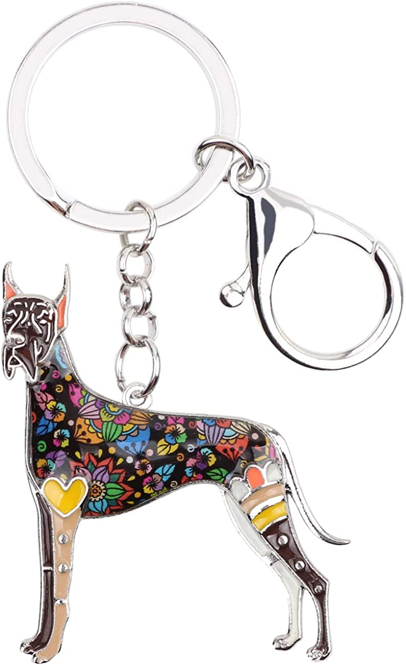 WEVENI Enamel Alloy Great Dane Dog Keychain Bag Max 48% OFF Charms W Pet Car A surprise price is realized