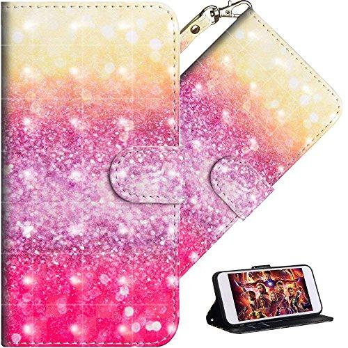 HMTECH iPhone SE/iPhone 5 5S Custodia 3D Luxury Beige Pink Sand Portafoglio in Pelle PU Flip Stand Porta Carte Bookstyle Cover per iPhone SE/iPhone 5 5S,Beige Pink Sand