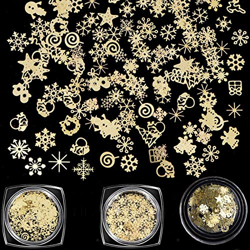 3Boxes 3D Snowflake Sequins for Nail Art Decoration Glitter Set Sparkly DIY Nail Accessories Christmas Nail Designs Trendy Christmas Nail Art Stickers DIY Nail Decals Manicure