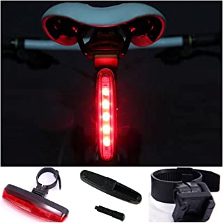 1Pc Astonishing Unique 4 Mode 5x Red LED Flashlight Bike Lights Bicycle Cycling Head Front Rear Tail Back Headlight Coast Bright Waterproof Camping Tactical Holster Holder LEDs Flashlights Torch Lamp