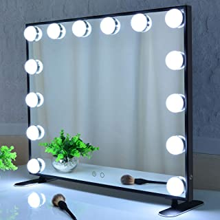 Hollywood Lighted Vanity Mirror,Makeup Mirror with Lights,Tabltop or Wall Mount Cosmetic Beauty Mirror with Dimmer Bulbs,T...