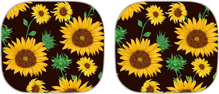 HUGS IDEA Boho Style Flower Print Car Windshield Sun Shade Full Set of 2 Piece Foldable Front Window Sunshades Auto Sun Visor Universal Fit Most Sedans SUV Trucks