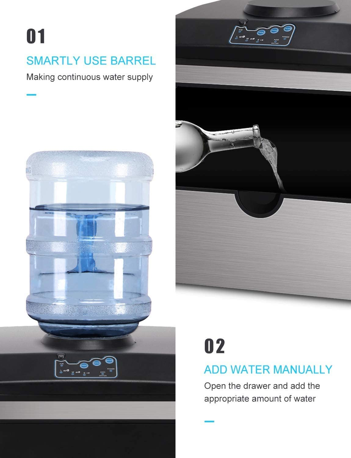 Northair Countertop 2 in 1 Ice Maker with Water Dispenser 5 Gallon S-M-L 3 Sizes Bullet Ice 40lbs Daily-Ice Cubes ready in 8 Minutes with Ice Scoop