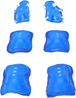 BESPORTBLE 6 Pcs Kids Childrens Sports Protective Gear Safety Knee Pad Knee Guard Elbow Pad for Boys and Girls Roller Skating Skateboard BMX Scooter Cycling (Blue)