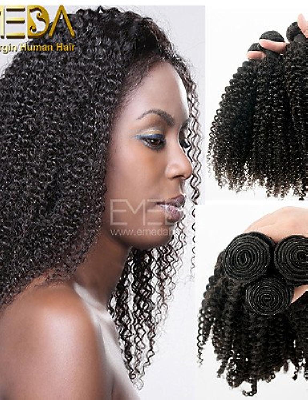 IJKIU jff Set mit Virgin Peruvian Hair Afro Kinky lockiges Echthaar-Extensions, Schwarz, 8–30cm Echthaar Weaves
