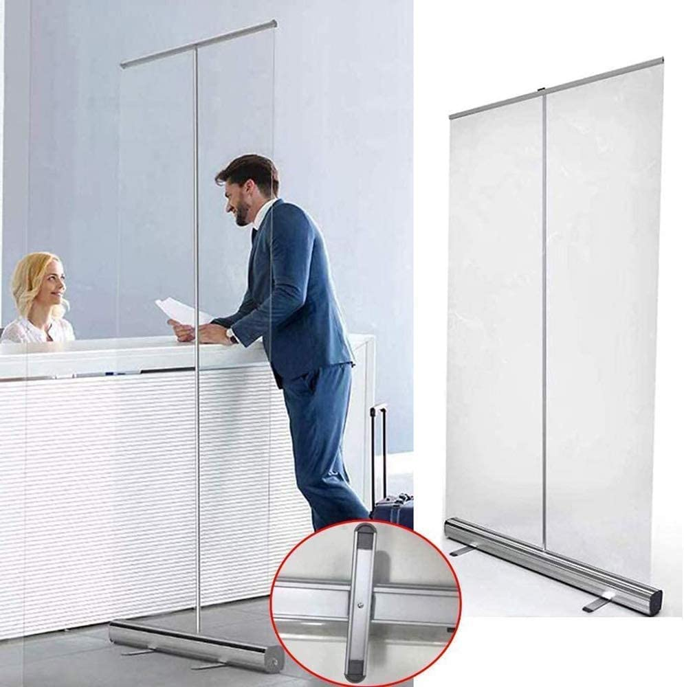 TANKKWEQ Floor Standing Sneeze Guard Market Office Isolated Roll-up Banner Roll Up Sneeze Guard Shield Floor Standing Transparent Hygiene Partition Roller Pull-Out Perspect Banner Social Distancing Qu