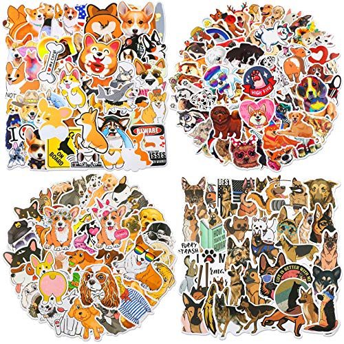 Zonon 230 Pieces Cute Dog Vinyl Stickers Mixed Pet Laptop Stickers Waterproof for Water Bottles Funny Cartoon Animals Decals for Travel Luggage Skateboard Guitar for Adults Teens, 4 Styles