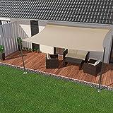 IBIZSAIL Sonnensegel wasserabweisend Sonnenschutz für Garten Balkon aus PES rechtwinklig-400 x 300 cm-Sand(inkl....