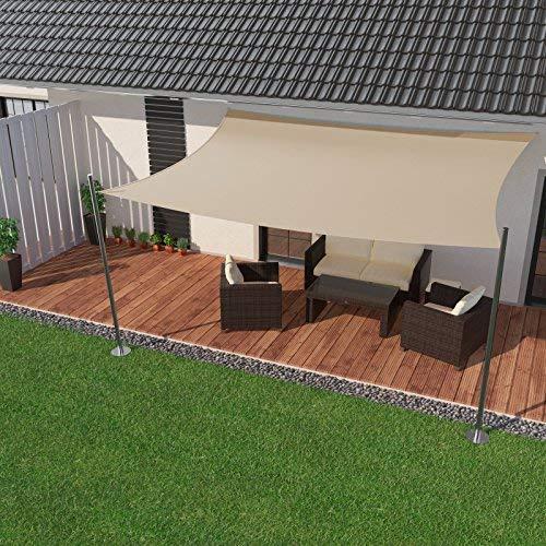 IBIZSAIL Sonnensegel wasserabweisend Sonnenschutz für Garten Balkon aus PES rechtwinklig-400 x 400 cm-Creme(inkl. Spannseilen)