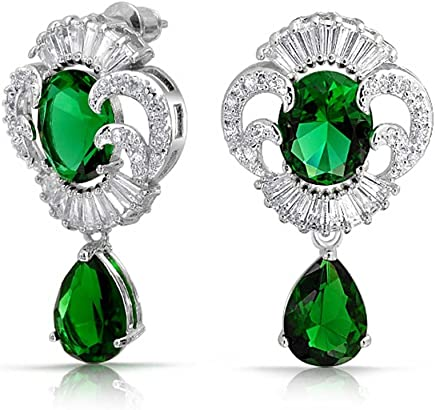 Bling Jewelry 贝灵珠宝 合成祖母绿 锆石 泪滴形耳环 华贵款耳饰 镀铑