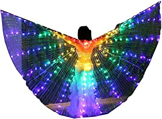 Women LED Belly Dance Isis Angel Butterfly Wings Costume with Telescopic Sticks