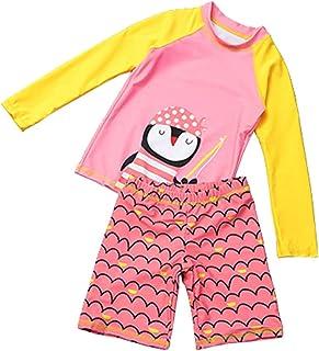طقم ملابس سباحة للأطفال الصغار الأولاد والبنات مكون من قطعتين ملابس سباحة للأطفال بأكمام طويلة
