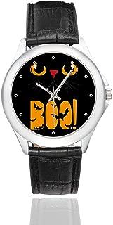 InterestPrint Happy Halloween Waterproof Women's Stainless Steel Classic Leather Strap Watches, Black