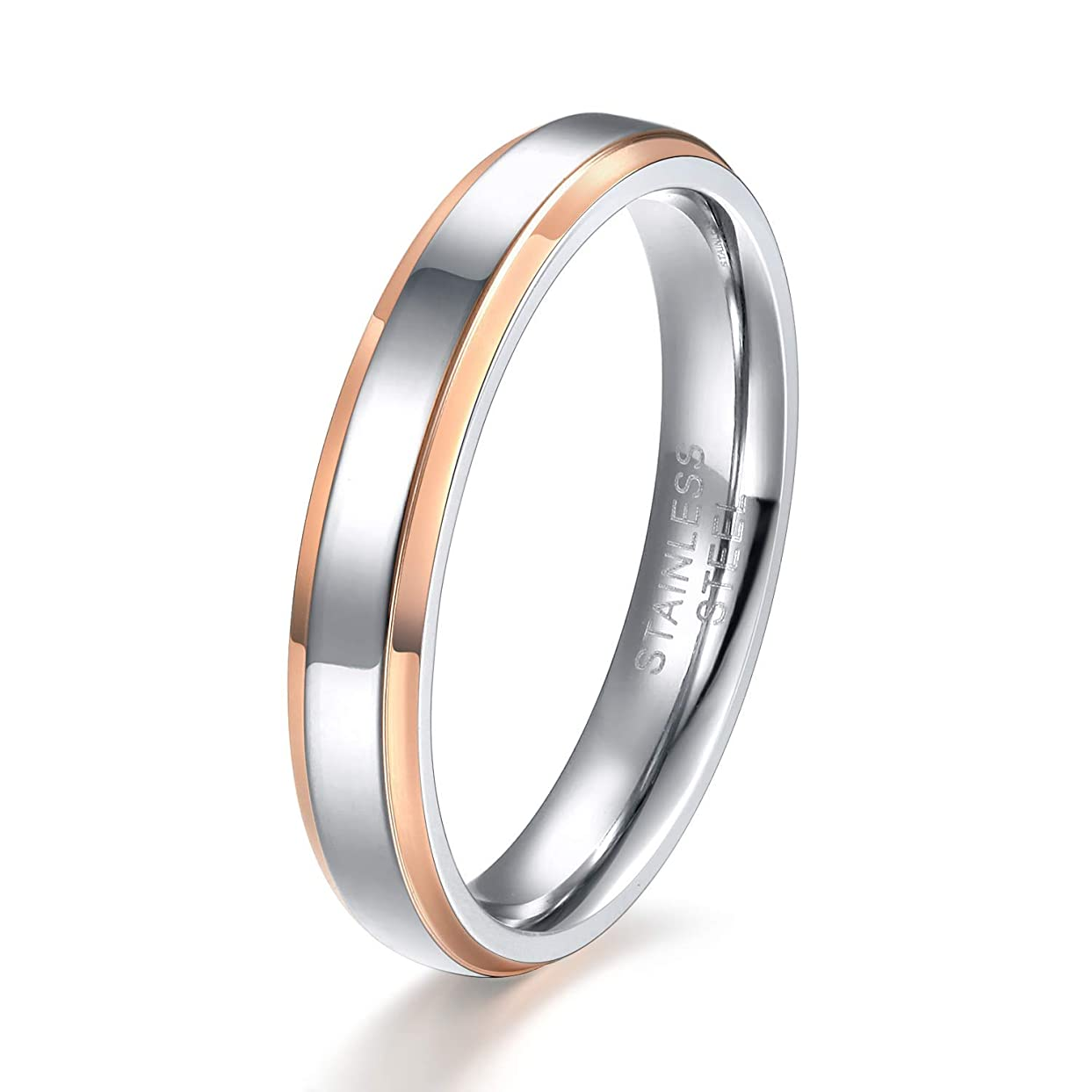 女の子不公平最近TICENTRAL ステンレス ピンキーリング メンズ ペア 指輪レディース 幅4mm シンプル 鏡面加工 細身 平打ち(ピンクゴールド,9)