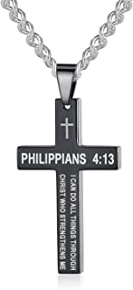 Bible Verse Philippians 4:13 Cross Pendant Necklace Stainless Steel for Men Women Kids, 22-24 inches Classic Chain, 3 Colors Available