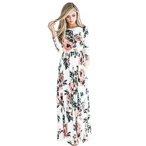 83b19d5e32c20 DANALA Women's Casual Floral Print Long Sleeve Round Neck Vintage Maxi Dress