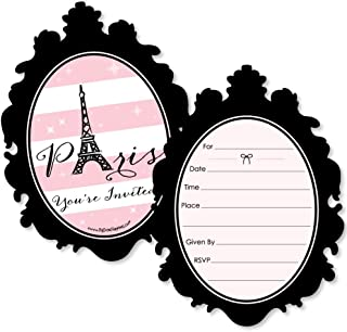 Paris, Ooh La La - Shaped Fill-in Invitations - Birthday Paris Themed Baby Shower or Birthday Party Invitation Cards with Envelopes - Set of 12