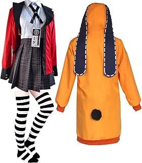 TOTENJS Anime Kakegurui Runa Yomozuki Cosplay Costume Orange Yomoduki Runa Coat