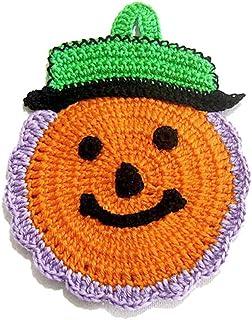 Agarradera naranja en forma de calabaza para Halloween de ganchillo - Tamaño: 10.5 cm x 15 cm H - Handmade - ITALY
