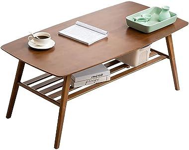 Rxakudedo ローテーブル 二重層 約幅100*奥行50*高さ40cm センターテーブ アンティークスタイル 棚付きテーブルリビングテーブル ミディアムブラウン