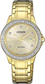 Citizen Women's Solar Powered Wrist watch, Leather Strap analog Display and Leather Strap, FE1172-55P