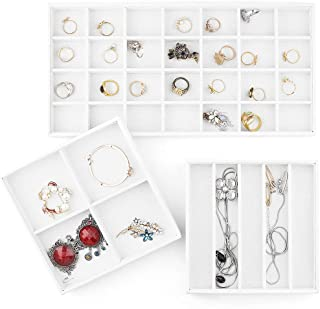 MESHA Stackable Jewelry Organizer Trays Set of 3 Muti-use Jewelry Storage Holder for Earrings Bracelets Necklaces & Rings White Leather Display Case 37 Slot for Drawer or Dresser