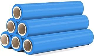 HaGa Stretchfolie 500mm x 175m - 6 Rollen Umzugsfolie Verpackungsfolie mit 23µm Stärke - Handwickelfolie in blau