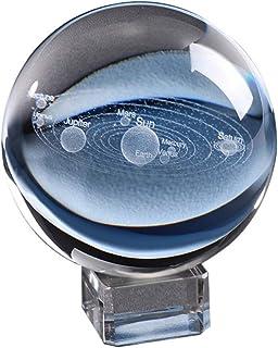 3d Système Solaire Boule De Cristal Gravé Système Solaire Miniature Planètes Modèle En Verre Globe Balls Décoration D'inté...