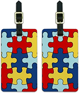 Autism Awareness Puzzle Pieces Luggage ID Tags Cards Set of 2