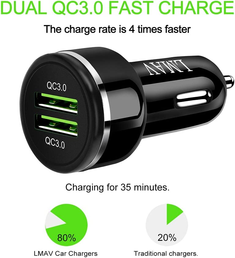 Car Charger Adapter with 3A 3.3FT USB C Cable 48W 6A Fast USB Car Phone Charger Dual QC3.0 Car Charger Fast Charging Compatible with Apple /& Android Devices.