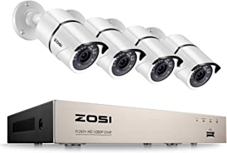 ZOSI 8CH 1080P Security Camera System,H.265+ 1080P 8Channel HD-TVI DVR and 4Pcs 1920TVL Outdoor Indoor Weatherproof CCTV Surveillance Camera with 120ft Night Vision, Motion Alert,No Hard Drive