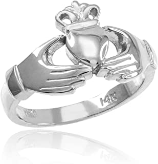 Classic 14k White Gold Irish Heart Claddagh Wedding Engagement Ring