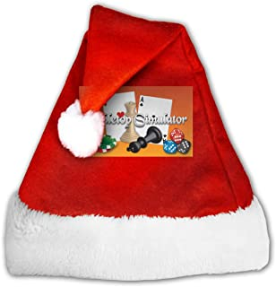 GFHM111 Tabletop Simulator Christmas Santa Hat Plush Claus Cap Xmas Hat for Adults and Kids