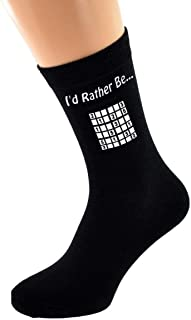 I'd Rather Be Playing Sudoku with Puzzle Image Printed on Black Socks