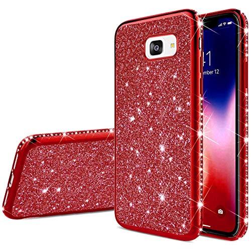 Herbests Kompatibel mit Samsung Galaxy A5 2017 Hülle Glitzer Mädchen Schuzhülle Kristall Bling Glitzer Strass Diamant Überzug Ultra Dünn Durchsichtige Transparent Silikon Handyhülle Tasche,Rot
