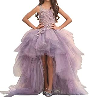 Gorgeous Hi-Low Ball Gown Sweep Train Pagenat Gown for Teens Flower Girl Dress with Applique