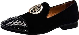 Homme Velours Noble Mocassin Boucle Dorée Cuir Verni Rivets Pantoufles Slip on Loafers Conduite Mariage Chaussures Chausso...