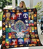 Hippie Spiritual Tree of Life Quilt Size - All Season Comforter with Cotton Duvets Best Banquet Decorative Unique for Travel Picnics Beach Trips Gifts