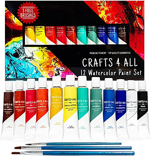 Watercolor Paint Set by Crafts 4 All 24 Premium Quality Art Watercolors Painting Kit for Artists, Students & Beginners - Perfect for Landscape and Portrait Paintings on Canvas (24 x 12ml)