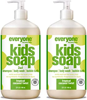 Everyone 3-in-1 Kids Soap: Shampoo, Body Wash, and Bubble Bath, Tropical Coconut Twist, 32 Ounce, 2 Count